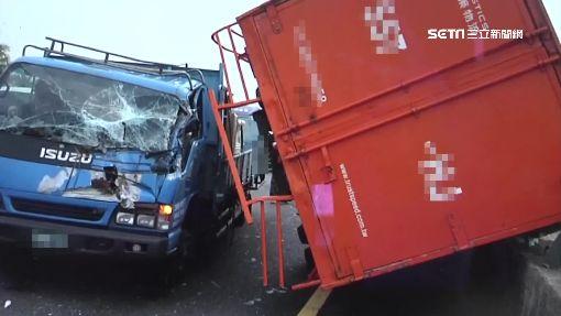 疑煞車失控4車連環撞 大貨車側翻