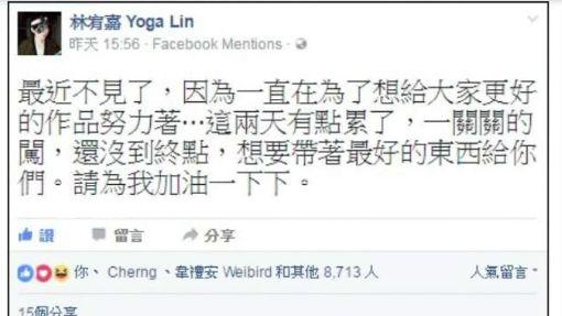 """林宥嘉臉書收""""啾咪"""" 女友丁文琪秒回宣示主權"""