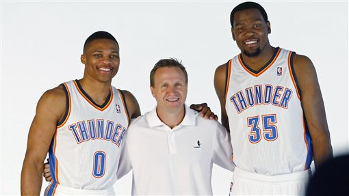 Russell Westbrook,Scott Brooks,Kevin Durant(ap)