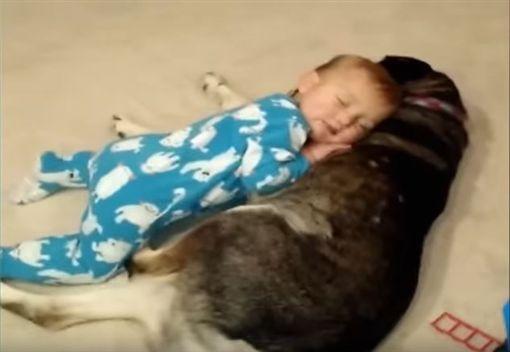 小寶寶把月月當枕頭。(圖/翻攝自Kyoot Kids YouTube)