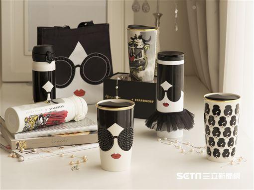 統一星巴克與美國紐約時尚精品Alice + Olivia推出聯名商品。(圖/星巴克提供)
