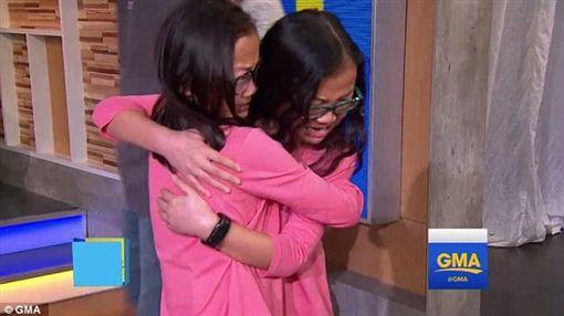 中國大陸雙胞胎姊妹,美國重逢(翻攝自每日郵報)