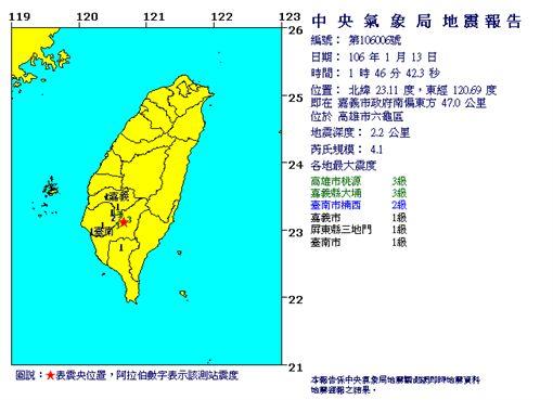 南部凌晨規模4.1地震 桃源大埔震度3級中央氣象局