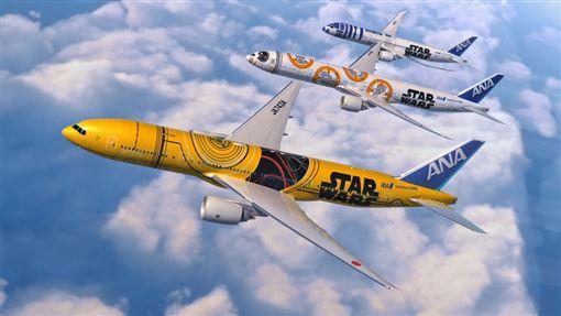 ANA全日空星際大戰彩繪機C-3PO。(圖/翻攝自ANA官網)