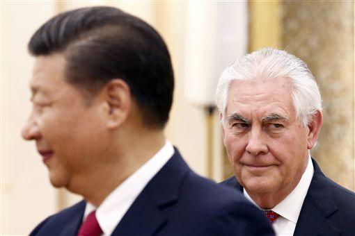 美國國務卿提勒森、大陸主席習近平/(圖/美聯社/達志影像)