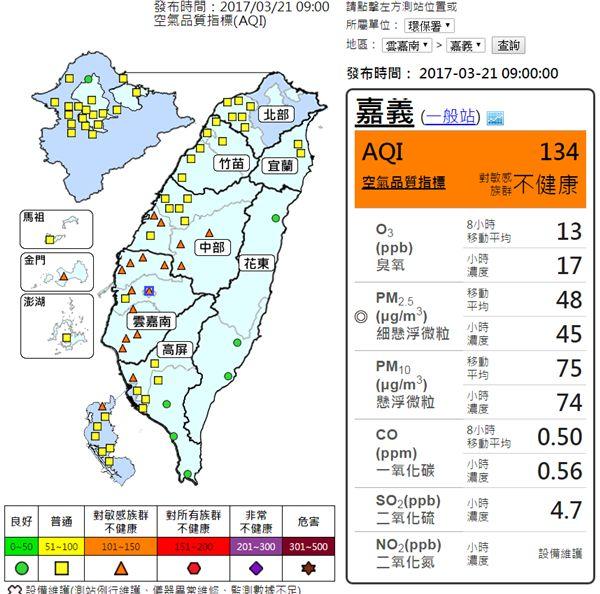 0321空氣品質 圖/翻攝自環保署