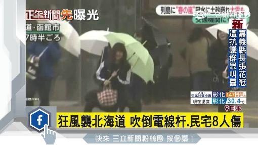 狂風襲北海道 吹倒電線杆.民宅8人傷
