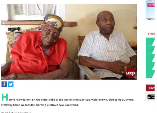 ▲據信最長壽人瑞的97歲兒子過世。(圖/翻攝自loopjamaica、The gleaner)http://www.loopjamaica.com/content/97-year-old-son-worlds-oldest-person-violet-brown-dies-trelawnyhttp://jamaica-gleaner.com/article/news/20170419/97-