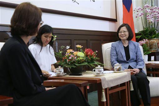總統蔡英文接見歐洲議會社會黨團副主席馮安蘭(Kathleen Van Brempt)等一行。(總統府提供)