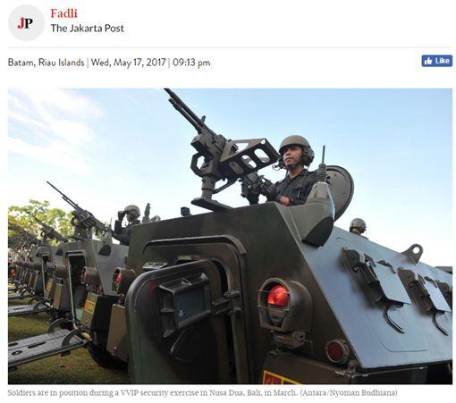 印尼軍方三月份在巴厘島努沙杜瓦舉行的VVIP安全行動中,士兵們都處於適當位置。 圖/翻攝自雅加達郵報