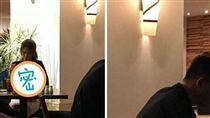 咖啡廳,正妹,辣妹,美乳,胸部,車頭燈,火辣,深V,美女,壁燈,爆乳 (圖/翻攝自爆廢公社)