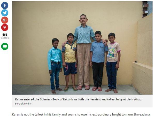 印度最高男孩辛格(Karan Singh)(圖/翻攝自Mirror)