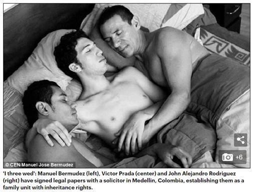 南美洲,哥倫比亞,麥德林,Medellin,同婚,同志,同性婚姻多角家庭,婚姻,申請,家庭,法律,保障,合法,一家人,Manuel Jose Bermudez,Victor Hugo Prada,John Alejandro Rodriguez,多重伴侶,Polyamory-翻攝自每日郵報