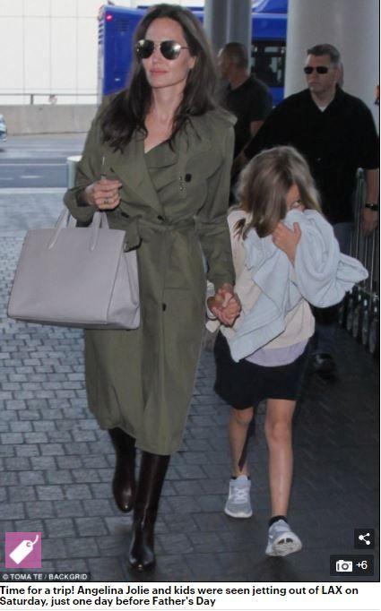 裘莉牽著小女兒薇薇安。(圖/翻攝自每日郵報)