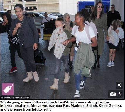裘莉帶著6名子女出國度假。(圖/翻攝自每日郵報)