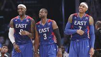 LeBron James、Dwyane Wade和Carmelo Anthony(ap)