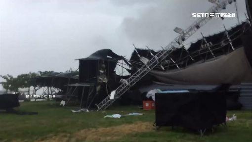狂風吹倒舞台.招牌 雷擊害5千戶停電