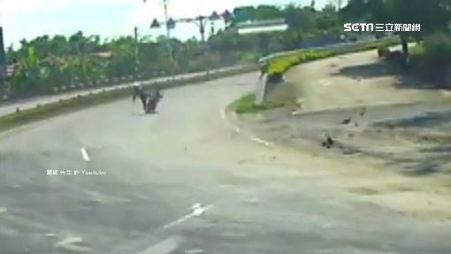 馬路隱形殺手! 繩索飛落..騎士絞脖重摔