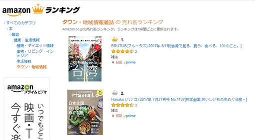 日本,雜誌,BRUTUS,台灣,台南,街道,封面,amazon,銷售,成績(Amazon官網)