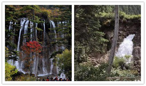 九寨溝諾日朗瀑布被震垮。(圖/翻攝自微博)
