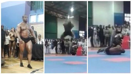 南非,健美,健美先生,後空翻,意外(圖/翻攝自YouTube)