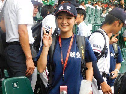 日本,甲子園,棒球,全國高中棒球選手權,航空石川,空姐,大見謝伶華,正妹,球經