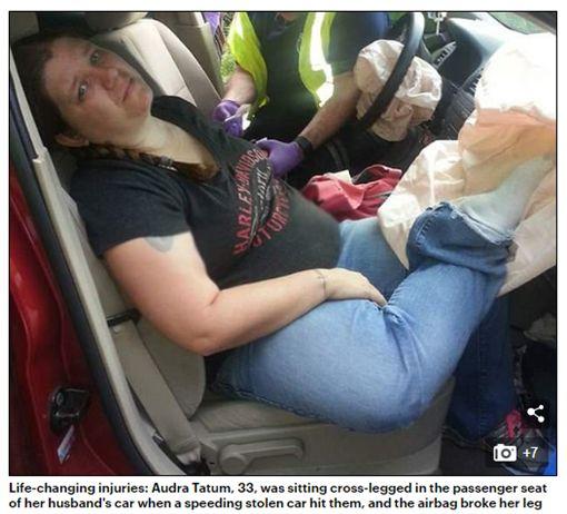 腳,美國,壞習慣,對折,氣囊圖/翻攝自Daily Mail