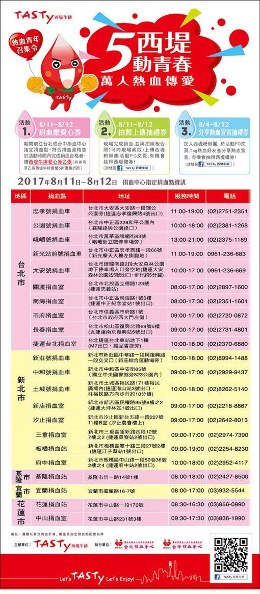 捐血,西堤 圖/翻攝自台北捐血中心官網