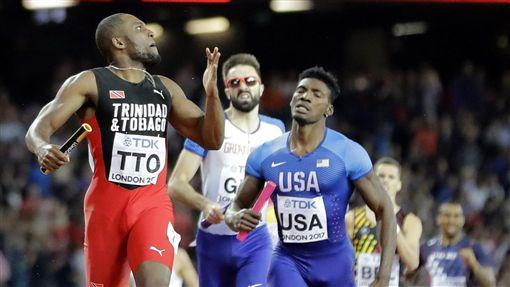 ▲千里達Lalonde Gordon在最後20公尺超越美國。(圖/美聯社/達志影像)