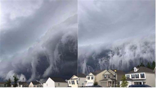 美喬治亞州海恩斯維爾(Hinesville)一名婦人拍下了灘雲奇景。(剖析圖/翻攝自Johanna Hood Instagram)