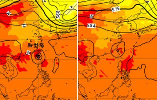 左圖:14日20時歐洲模式500百帕預測圖顯示,颱風在巴士海峽、台灣南端附近,此時鞍形場正好在台灣,導引氣流很弱。右圖:16日20時歐洲模式500百帕預測圖顯示,颱風以緩慢向北迴轉,還在台灣上空、未能脫離。(圖擷取自ECMWF官網)