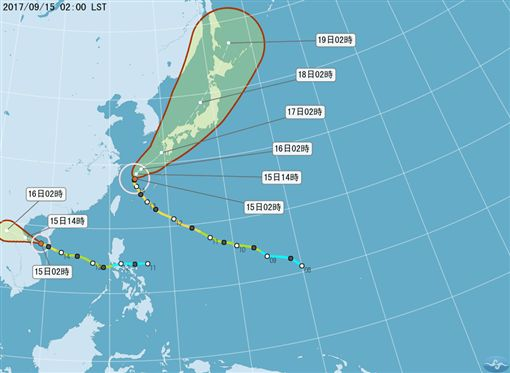 0915泰利、杜蘇芮颱風路徑圖(圖/翻攝自氣象局)