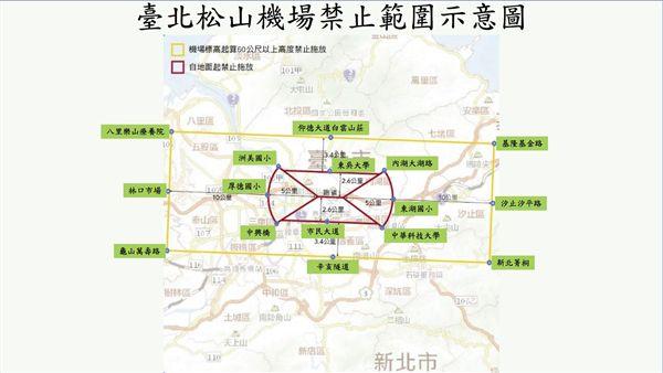 松山機場無人機禁止範圍示意圖。(圖/民航局提供)