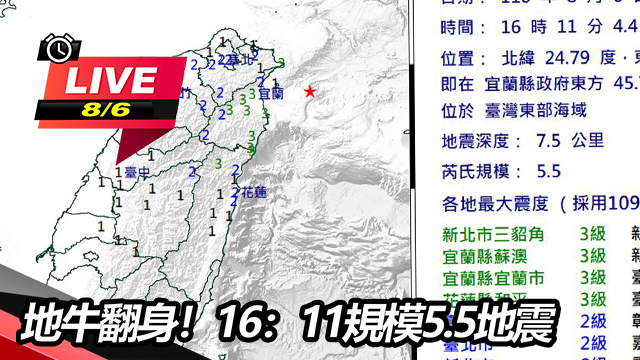 地牛翻身!16:11規模5.5地震