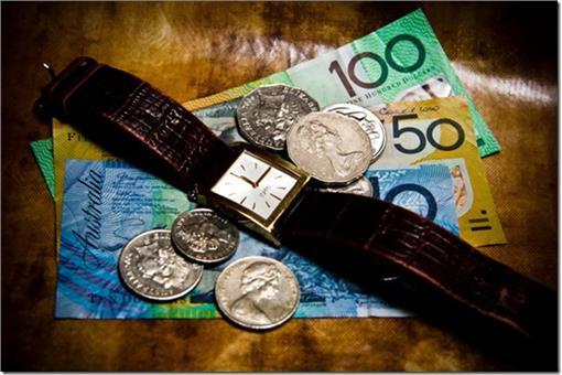 時間就是金錢.紙鈔.錢幣.手錶(圖片來源:專案管理生活思維)