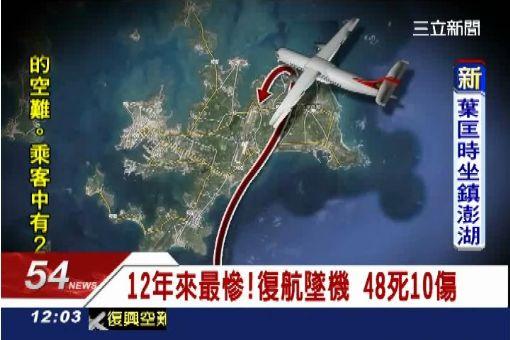 12年來最慘!復航墜機 48死10傷
