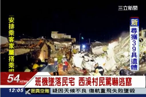 班機墜落民宅 西溪村民驚嚇逃竄