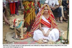 印度少女、狗-圖/翻攝每日郵報