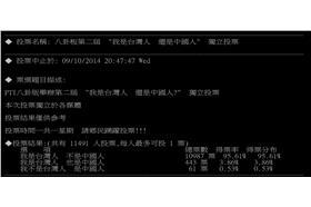 「我是台灣人,還是中國人?」投票結果-ptt
