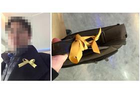 搭華航繫黃絲帶被要求拿下/合成圖/翻攝自當事人臉書
