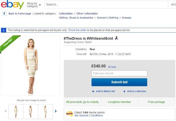 白金洋裝 圖/翻攝自拍賣網站eBay
