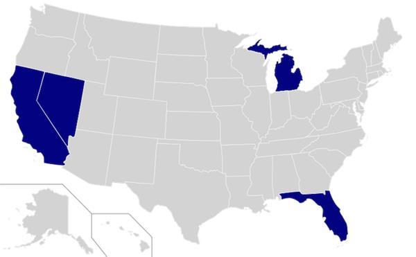發給Google無人駕駛車行使牌照的五個州