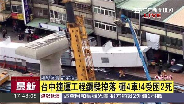 台中捷運工程鋼樑掉落