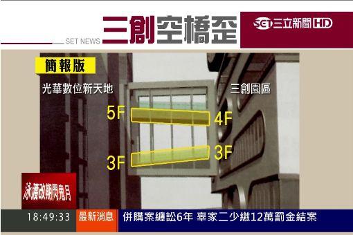 """三創""""斜空橋""""4樓接5樓? 攤商控""""遭惡搞"""""""