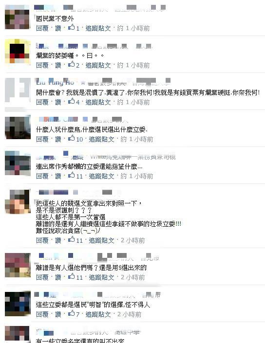 低出席、低質詢立委一覽表/臉書