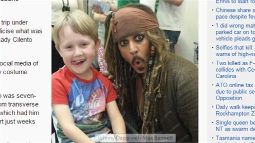 圖/翻設abc雜誌 http://www.abc.net.au/news/2015-07-07/johnny-depp-visits-sick-kids-brisbane-hospital/6602454