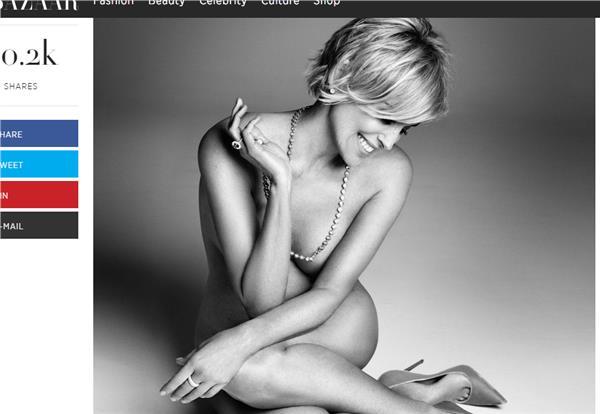 莎朗史東翻攝harpersbazaar雜誌http://www.harpersbazaar.com/culture/features/a11741/sharon-stone-nude-0915/