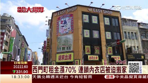 西門町租金漲70% 連鎖內衣店被迫搬家