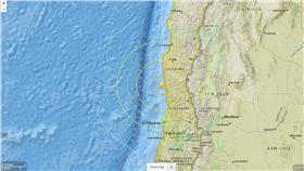 智利,地震(圖/翻攝自美國地質調查所網站 earthquake.usgs.gov)
