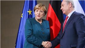 德國總理梅克爾,以色列總理納坦雅胡_美聯社